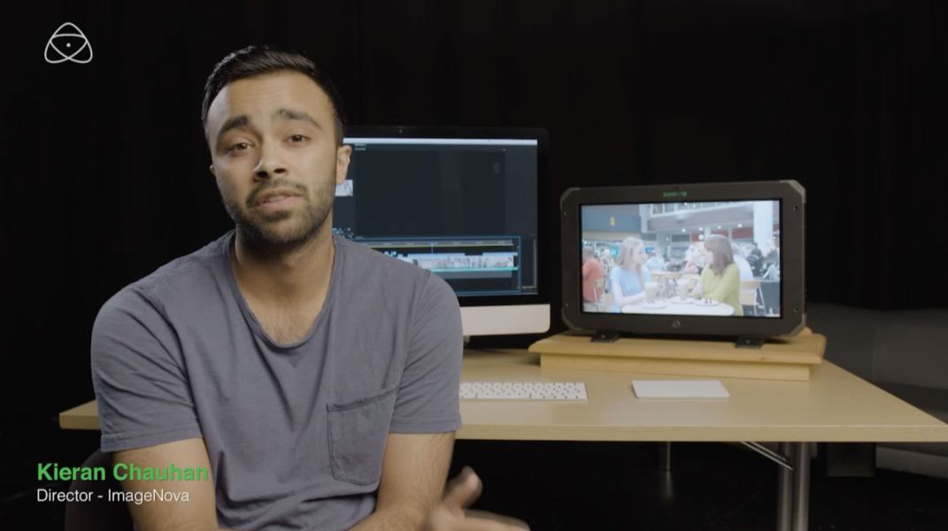Kieran Chauhan working on Atomos video advert production